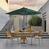 Hochwertige gelbe Farben-synthetischer Rattan-Patio-Tisch eingestellt mit Stuhl