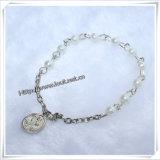 Bracelet en verre de rosaire de décennie de modèle neuf avec le pendant en travers (IO-CE068)
