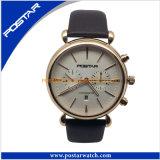 O pulso ocasional Watche do negócio dos homens do relógio do suíço ostenta o relógio de couro de quartzo
