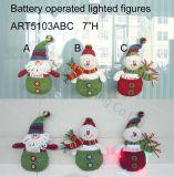 Iluminación encima de la Navidad Gifts-3asst del portatarjetas de Santa y del muñeco de nieve