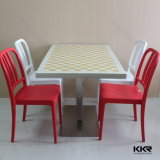 أبيض رخاميّة أكريليكيّ صلبة سطحيّة مطعم طاولة وكرسي تثبيت