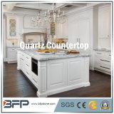 Bancada branca de pedra artificial de quartzo para o quarto da cozinha