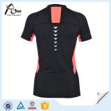 Les doubles femmes de collier sèchent l'usure mince de forme physique de T-shirt en bonne santé