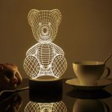 3D Visual Teddy Bear White LED Night Table Lamp