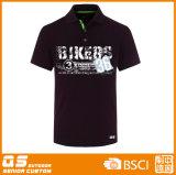 T-shirt do esporte do preto do polo dos homens
