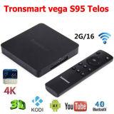La memoria Android originale 2.0GHz 2g/16g 2.4G/5GHz del quadrato di Amlogic S905 della casella di Tronsmart Vega S95 Telos TV si raddoppia WiFi il H. 265 4k2k Uhd 3D SATA