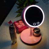 2016 nuevos 2 en 1 espejo encendido recargable del maquillaje de las señoras con la luz del LED varios colorean la lámpara del espejo del maquillaje del LED