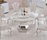 Prezzo poco costoso di 5 Seaters della mobilia domestica di vetro di marmo rotonda elegante della Tabella pranzante (SJ825)