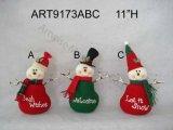 """11 """" H décoration florale de maison de Noël de Santa et de bonhomme de neige avec les bras de brindille, 3 Asst"""