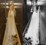 A - линия платье венчания планок Шампань шеи Tulle v двойное с шнурком