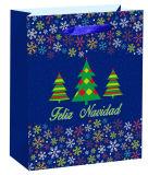 Sac de estampage chaud de cadeau de Noël de sac de papier de couleur blanche