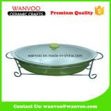 Vasellame resistente al calore di ceramica antiaderante di vendita calda differente di colore con il coperchio di vetro