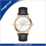 Relógio de pulso genuíno arqueado da cinta de couro da moda automática de vidro do movimento