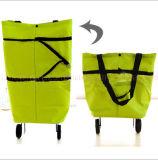 Kundenspezifischer Oxford-Griff-faltbare fördernde Einkaufstasche mit Rad