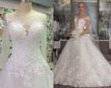 Uma linha/um vestido casamento da princesa Longo Luva com Appliques
