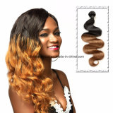 Brasilianische Jungfrau-Haar-Karosserien-Wellebrown-Farbe drei Stücke in einem Pakc