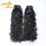 自然で黒く加工されていないインドのバージンのRemyの織り方の毛