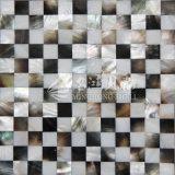 Frischwassershell und schwarze Mosaik-Fliese des Lippenmopp-Shell-15*15