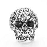 Vagula 2 colores del anillo de dedo del cráneo de plata del Zircon
