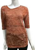 新しいデザイン焼損の女性のための中間の袖のTシャツ