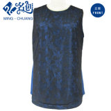 Das senhoras Sleeveless do Redondo-Colar do laço blusa ocasional feita malha azul