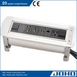 Material de alumínio do soquete elétrico da tabela giratória nós USB RJ45 do VGA do soquete HDMI
