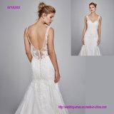 Silk Organza V-Stutzen mit Stickerei-Spitze-Hochzeits-Kleid