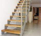 Escalera de madera de cristal del acero inoxidable 304 hecha en China