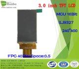 """3.0 """" étalage de TFT LCD de 240*400 MCU 16bit, IC : Ili9327, FPC 40pin pour la position, sonnette, médicale, véhicules"""
