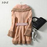 Cuir véritable et manteau de fourrure neufs avec le tricotage