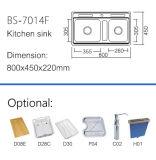 Fregadero de cocina aplicado con brocha material de acero sanitario de las mercancías (BS-7014F)