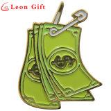 Perni creativi del risvolto del distintivo dello smalto di figura dei soldi personalizzati metallo