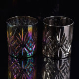 Supporti di candela di vetro di colore d'argento di lusso
