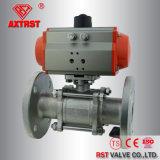 3PC roestvrij staal Van een flens voorzien Kogelklep met Pneumatische Actuator