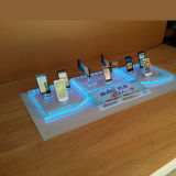 Costumbre Acrílico teléfono móvil del soporte de exhibición con luz LED