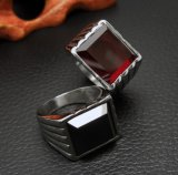 Preto & vermelho unisex embutidos do anel da jóia de Simples Zircon inoxidável