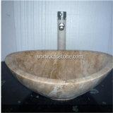 자연적인 화강암 대리석 목욕탕 타원형 수채, 돌 둥근 세면기, 단단한 수상함정 수채, 화강암 세면기