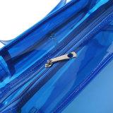 防水PVC透過青いトートバック(A090)