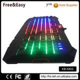 Arco iris de colores USB LED de luz de fondo del teclado 104 teclas de juego para PC