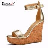 (Donna-в) сандалии высокой пятки клина пробочки женщин способа задние встречные