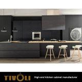 灰の黒い絵画島(AP025)が付いている木製の水平のベニヤの台所家具