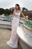 Oberseite Lina-Champagne neigt Hochzeits-Kleider der Prinzessin-Multilayer