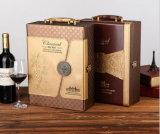 Rectángulo de madera hecho a mano de cuero de lujo del vino de la PU con la insignia impresa