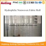 Roulis non-tissé hydrophile de tissu pour des couches et des serviettes hygiéniques