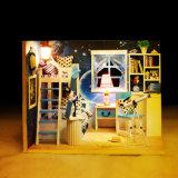Допустимый с домом Dollhouse света и мебели DIY миниатюрной деревянной