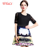 Merletto Women Dress Digital Printing Dress per Lady Clothing Summer Lycra