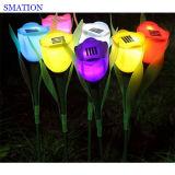Luz solar do jardim do diodo emissor de luz da lâmpada recarregável ao ar livre da flor do Tulip do pátio