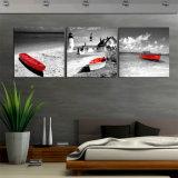 화포에 3개 피스 벽 예술 바다 경치 바닷가 유화는 벽 훈장 Mc 249를 위한 빨간 배 장식적인 그림을 인쇄한다