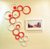 Etiquetas engomadas decorativas de la pared del espejo de acrílico creativo del círculo 3D