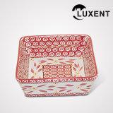 La venta superior esmalte bandeja de la torta rectangular de cerámica barata del hotel coloreado